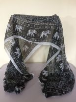 Black & White Elephant Print Scarf / Wrap